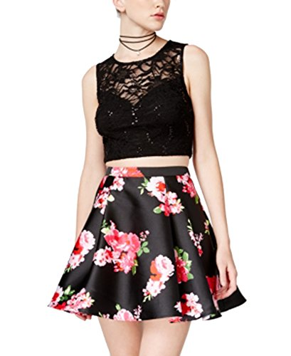 B Darlin 2-Pc. Lace Floral-Print Dress (Black Fuschia, 5/6) by Bee Darlin