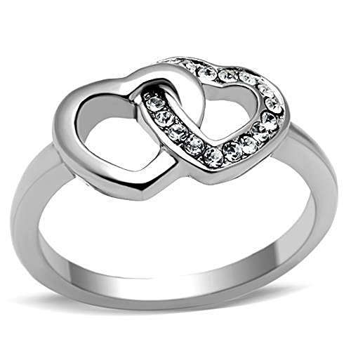 Women's Girls AAA CZ Stainless Steel Forever Double Heart Promise Ring Size 5-10 (10)