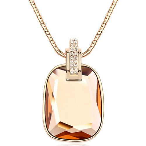 Latigerf Rectangle Shaped Pendant Long Necklace White Gold Plated Swarovski Elements Crystal