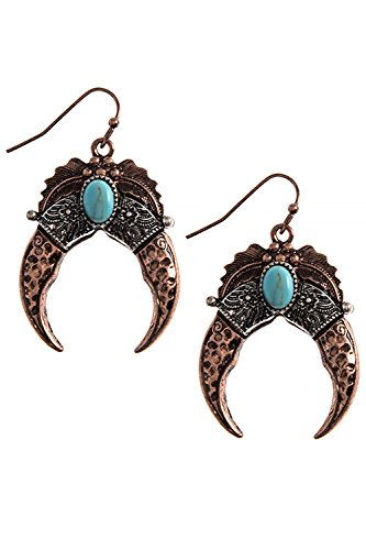 KARMAS CANVAS FAUX STONE SQUASH BLOSSOM EARRINGS (Antique Copper/Silver) (Coyote Earrings Copper)