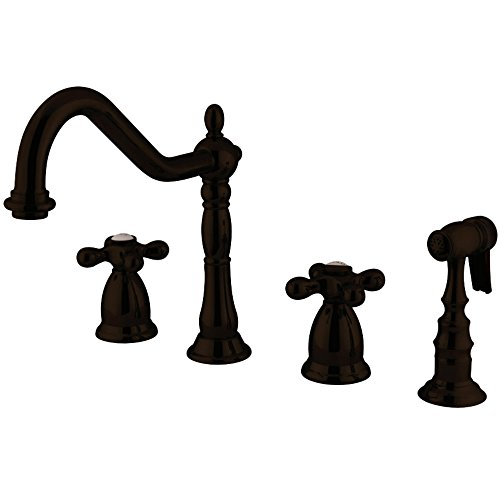 Kingston Brass KS1795AXBS Heritage Widespread Kitchen Faucet with Handle and Brass Sprayer, Oil Rubbed Bronze