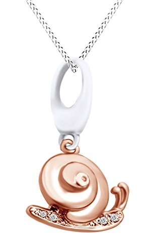 AFFY Round Cut White Cubic Zirconia Snail Charm Pendant Necklace in Two Tone 14k White Gold Over Sterling - Snail Gold Charm 14k