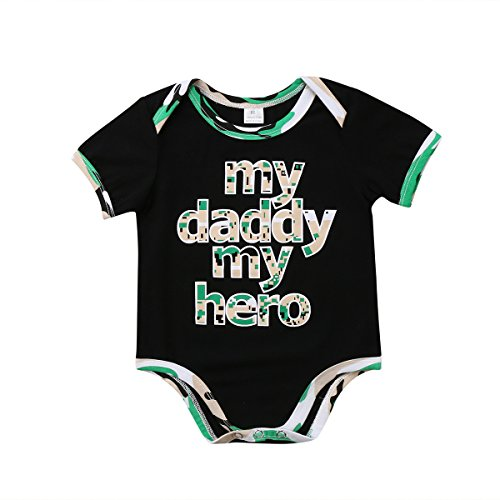 Enhill Infant Newborn Baby Boy Short Sleeve My Daddy My Hero Camouflage Bodysuit Romper Outfit (Black, 6-9 (Hero Camouflage)