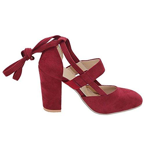 Cerradas Rojo Tacones Cordones Vino Puntas Zapatos Poplover Zapatos Mujer Altos de Correa Tobillo YY4pz7q