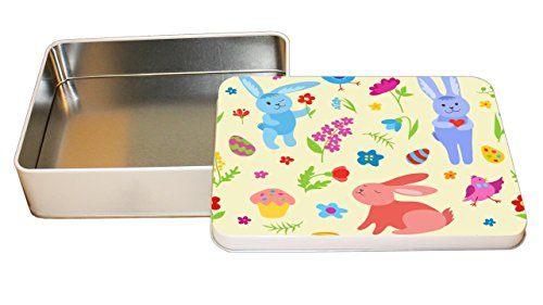 Bunnies Easter With Eggs Flower Pattern Decorative Metal Tin