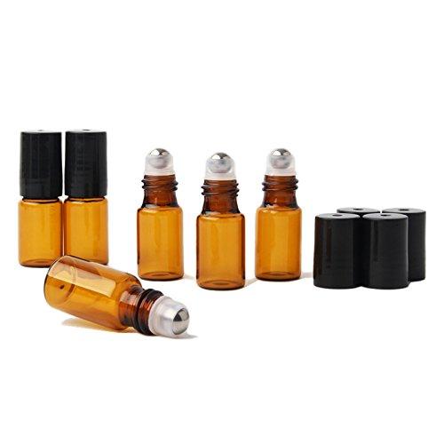 Deluxe 12Roll-On Botellas de vidrio ámbar con acero inoxidable rodillo bolas de 3ml rellenables Serum Medicina Botella...