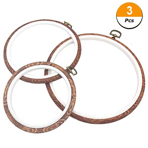 - 3 PCS Embroidery Hoops Cross Stitch Hoop Bulk Imitated Wood Embroidery Circle Set for Art Craft Handy Sewing and Hanging