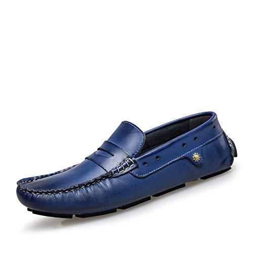 Bleu 39 EU VAXT Mocassins pour Homme en Cuir de Bocal à Bout Rond Style Britannique et Confortable