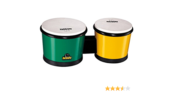 NINO ABS Bongos 6 1//2-Inch /& 7 1//2-Inch Green//Yellow