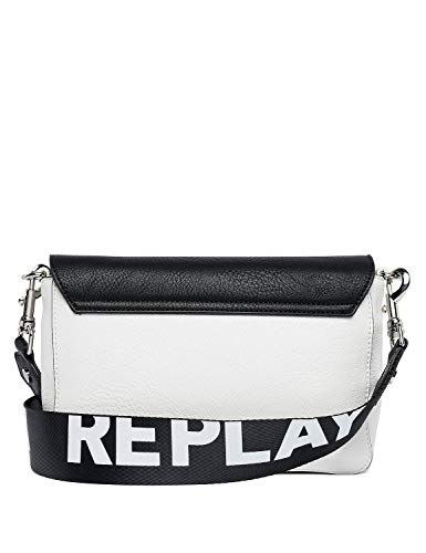 Bag Women's Shoulder Double Fastening White Replay With Zip qzE78dw