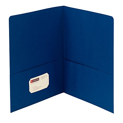 Smead Two-Pocket Heavyweight Folder, Letter Size, Dark Blue, 25 per Box -