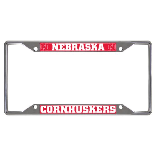 FANMATS NCAA University of Nebraska Cornhuskers Chrome License Plate (Ncaa Nebraska Cornhuskers Logo Plate)