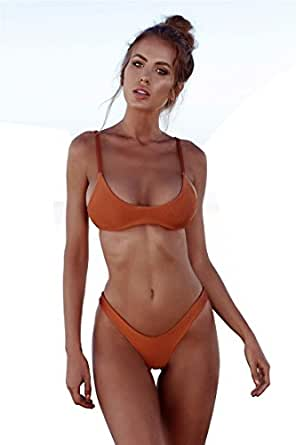 FANGUO Womens Bikini Set Swimwear Brazilian Padded Top Swimsuit Solid Color Triangle Bottom Coffee Medium