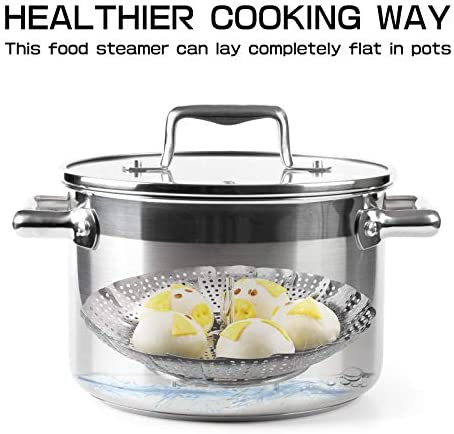 41YXkde9aCL. AC Vegetable Steamer Basket, Folding Stainless Steel Steamer Fits for Various Size Pot, Expandable Veggie Steamer Basket Insert for Veggie Fish Seafood Cooking    Product Description