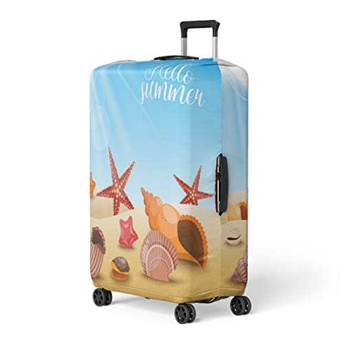 (Pinbeam Luggage Cover Starfishes Beach Composition Shells and Starfish Sand Title Travel Suitcase Cover Protector Baggage Case Fits 26-28 inches)