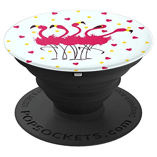 (A Flock Of Flamingos And Hearts Beautiful Design For GIrls - PopSockets Grip and Stand for Phones and)