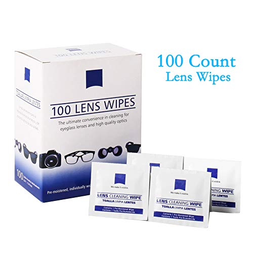 Glasses Cleaner Lens Wipes, 100 Pre-moistened Cleansing Cloths - Quick Cleans Eyeglasses, Tablets, Camera Lenses, Screens, Keyboards and Other Delicate Surfaces
