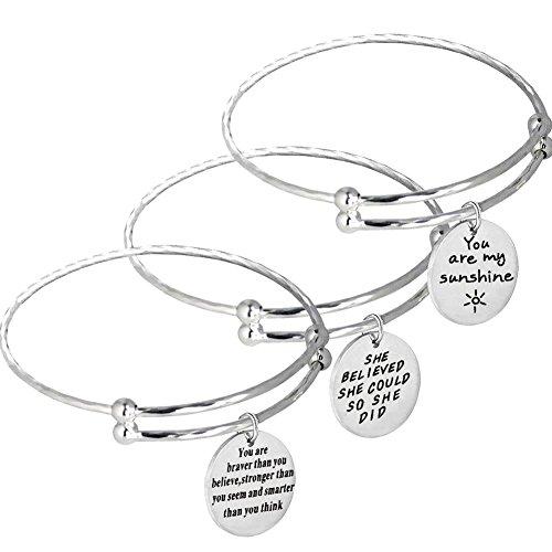 Girls Birthday Gifts Inspirational Stretch Bracelet for Women 3PCS Stainless Steel Charm Bangles Jewelry Set with Rhombus Stripe(3PCS-silver) Set Silver Charm Bracelet