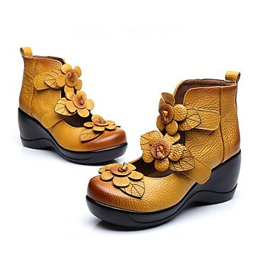 EU37 Casual Heels Yellow Black UK4 CN37 Red Nappa Women'S Spring US6 Zormey 5 Comfort Cowhide Flat 5 7 Leather 5 Pu 8Ca415w4q