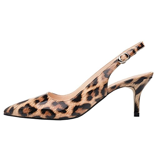 - VOCOSI Slingbacks Pumps for Women,Low Kitten Heels Comfortable Pointy Toe Pumps Shoes Leopard 11 US