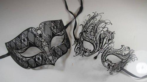 [Masquerade Couples Venetian Elegant Design Impression Masks - 2 Piece Black Colored Set by] (Couple Masquerade Masks)