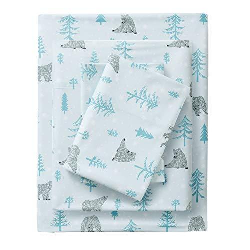 Premier Comfort Cozyspun All Seasons Blue Bear Sheet Set, Causal Bed Sheets Twin, Micro Plush Bed Sheets Set 3-Piece Include Flat Sheet, Fitted Sheet & Pillowcase ()