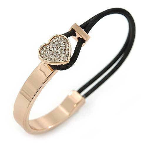 Avalaya Clear Crystal Heart Bangle Bracelet with Black Silk Stretch Cord in Gold Tone - 18cm -