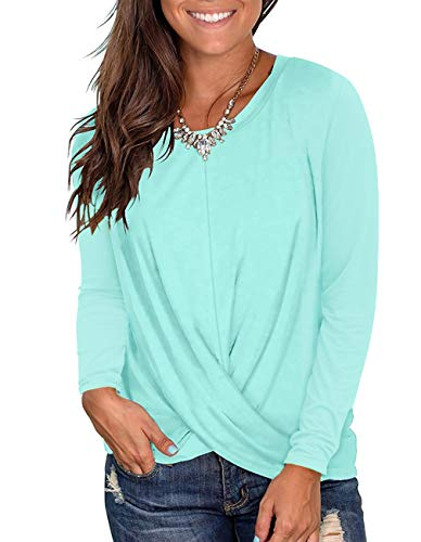 Womens Long Sleeve Tops Crew Neck Twist Front Shirts Casual Loose Fitted Tops Tee (z3 Lake Green, XL)