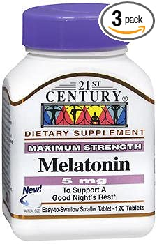Amazon.com: 21st Century Melatonin 5mg Tablets - 120 ct, Pack of 3 ...