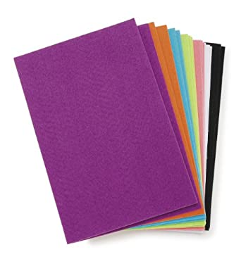 Darice FLT-0498 Felties Sticky Stiff Felt Sheets, 1mm, Bright Colors