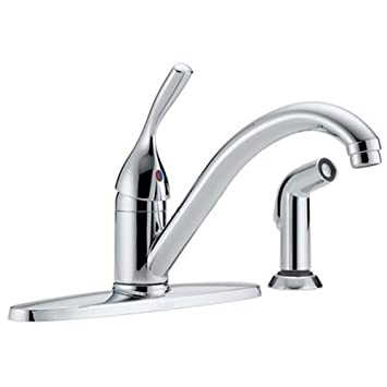 Delta Faucet Classic Single Handle Kitchen Sink Faucet With Side