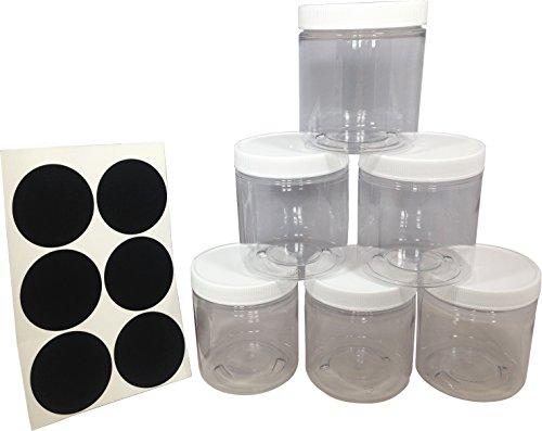 Gesso 8 Oz Jar (Slime Storage Favor Container Jars - 8oz (6 Pack) + Sealable Lids + Chalkboard Labels)