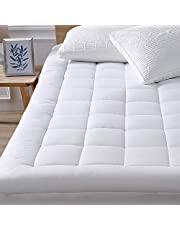 """Queen Mattress Pad Cover Cooling Mattress Topper Pillow Top Cotton Top with Down Alternative Fill (8-21"""" Fitted Deep Pocket Queen Size)"""