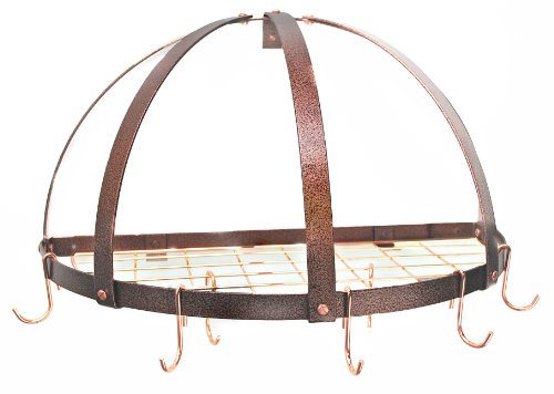 Rogar Half Dome Pot Rack w/ Grid in Hammered Copper