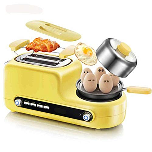 Compact Fast Breadmaker, Toaster Home 2 Slices Breakfast Toaster Earth Driver Automatic Toast, 1080W Yellow