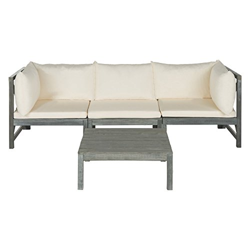 Safavieh Outdoor Collection Lynwood Outdoor Sectional Sofa, Ash Grey and (Ash Upholstered Table)