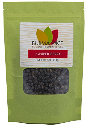 Whole Juniper Berries from Juniperus communis, excellent for flavoring meats and gin, kosher (4oz.)