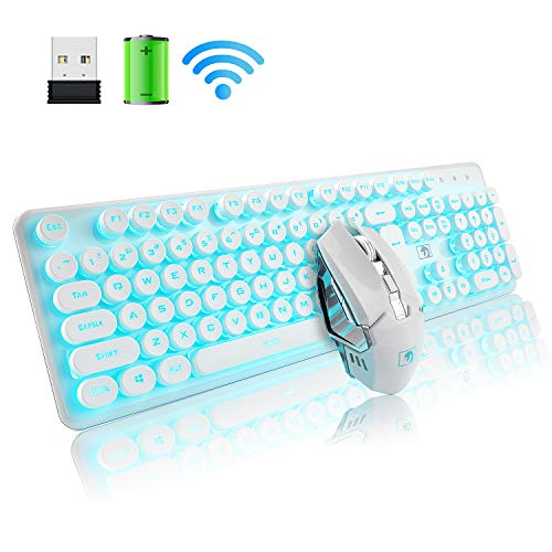 Rechargeable Keyboard and Mouse Combo Suspended Keycap Mechanical Feel Backlit 2.4G Wireless Gaming Keyboard & Mouse Adjustable Breathing Lamp for Laptop Computer and Mac (White Punk/Blue Light) (White Microsoft Keyboard)