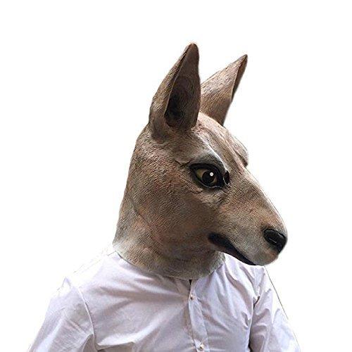 MostaShow Halloween Costume Cosplay Masks Latex Animal Kangaroo Full Head Masks (Kangaroo)