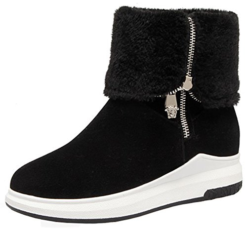 (Mofri Women's Fashion Faux Suede Furry Folded Top Side Zipper Ankle Booties Round Toe Platform Short Snow Boots (Black, 4.5 B(M))