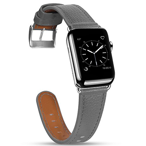 Compatible with Apple Watch Band 44mm 42mm, MARGE PLUS Genuine Leather watch Strap Replacement Band Compatible with Apple Watch Series 4 (44mm) Series 3 Series 2 Series 1 (42mm) Sport and Edition,Grey