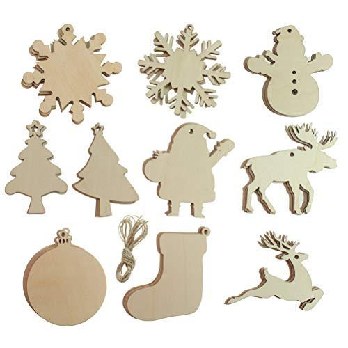 Creatrill 30 PCS 10 Styles Unfinished Wooden Christmas Ornaments, Snowflake/Snowman/ Stocking/Tree/ Moose Reindeer Deer, Paintable Wood Slices with Holes for Xmas Tree Hanging, Kids DIY