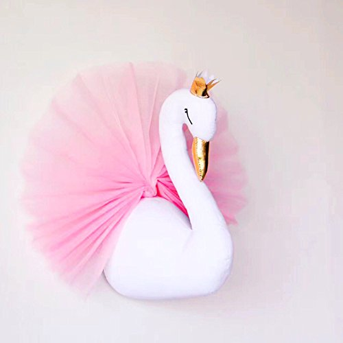 Hiltow Cute Crown Small Swan-shaped Gauze Dress Wall Hanging Ornament Kids Room Decor(Pink by Hiltow