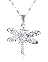 """Sterling Silver Cubic Zirconia Dragonfly Pendant, 18"""""""
