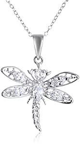 """Sterling Silver and Cubic Zirconia Dragonfly Pendant Necklace, 18"""""""