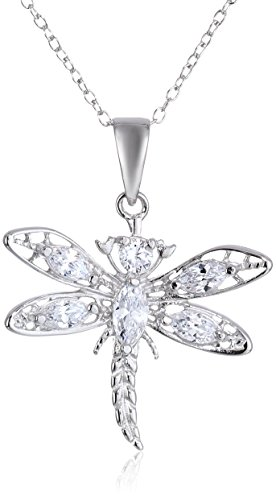 Sterling Silver and Cubic Zirconia Dragonfly Pendant Necklace, 18""