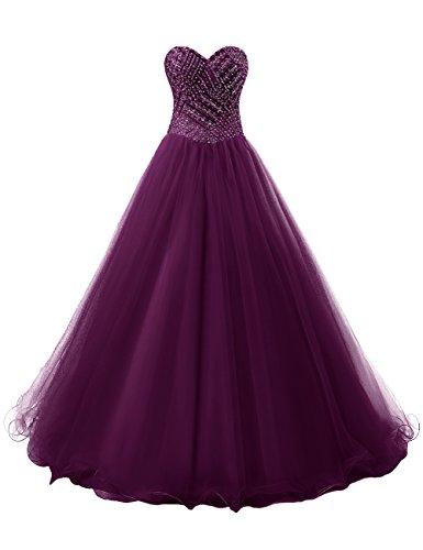 Dresstells®Vestido De Princesa Romántico Largo De Tul Escote Corazón Uva