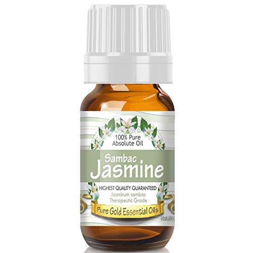 Jasmine Sambac Absolute Essential Oil (100% Pure, Natural, UNDILUTED) 10ml - Best Therapeutic Grade - Perfect for Your Aromatherapy Diffuser, Relaxation, More!