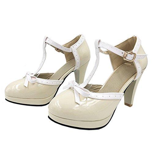 Beige Sandales Avec Aiguille T Bride Bow Ete Femme Talon Ferme TAOFFEN Elegant Bout Escarpins SqFHHY