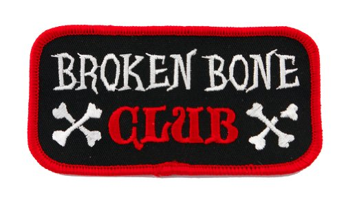 Broken Bone Club Patch Embroidered Iron-On Motorcycle Biker Emblem, Bags Central